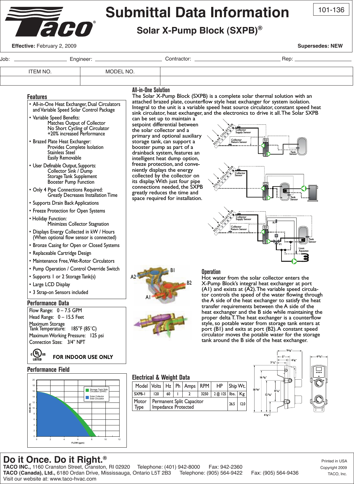 13278 3 Taco Sxpb 1 Submittal User Manual
