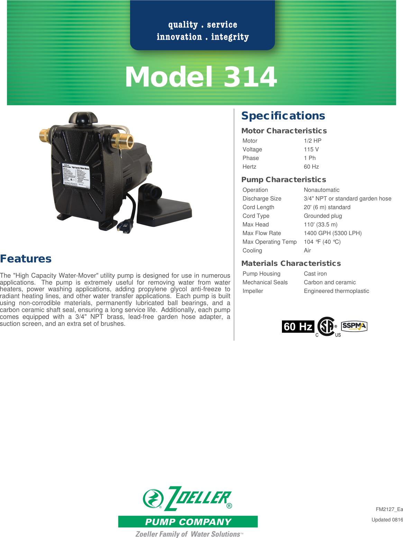 160 1 Zoeller 314 Non Submersible Utility Pump Brochure Company User Wiring Diagram Manual