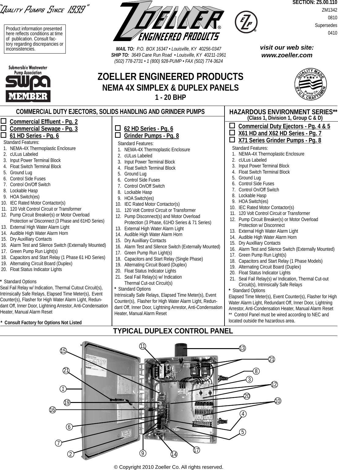 17092 2 Zoeller Control Panel Diagram Zm1342 Panels User