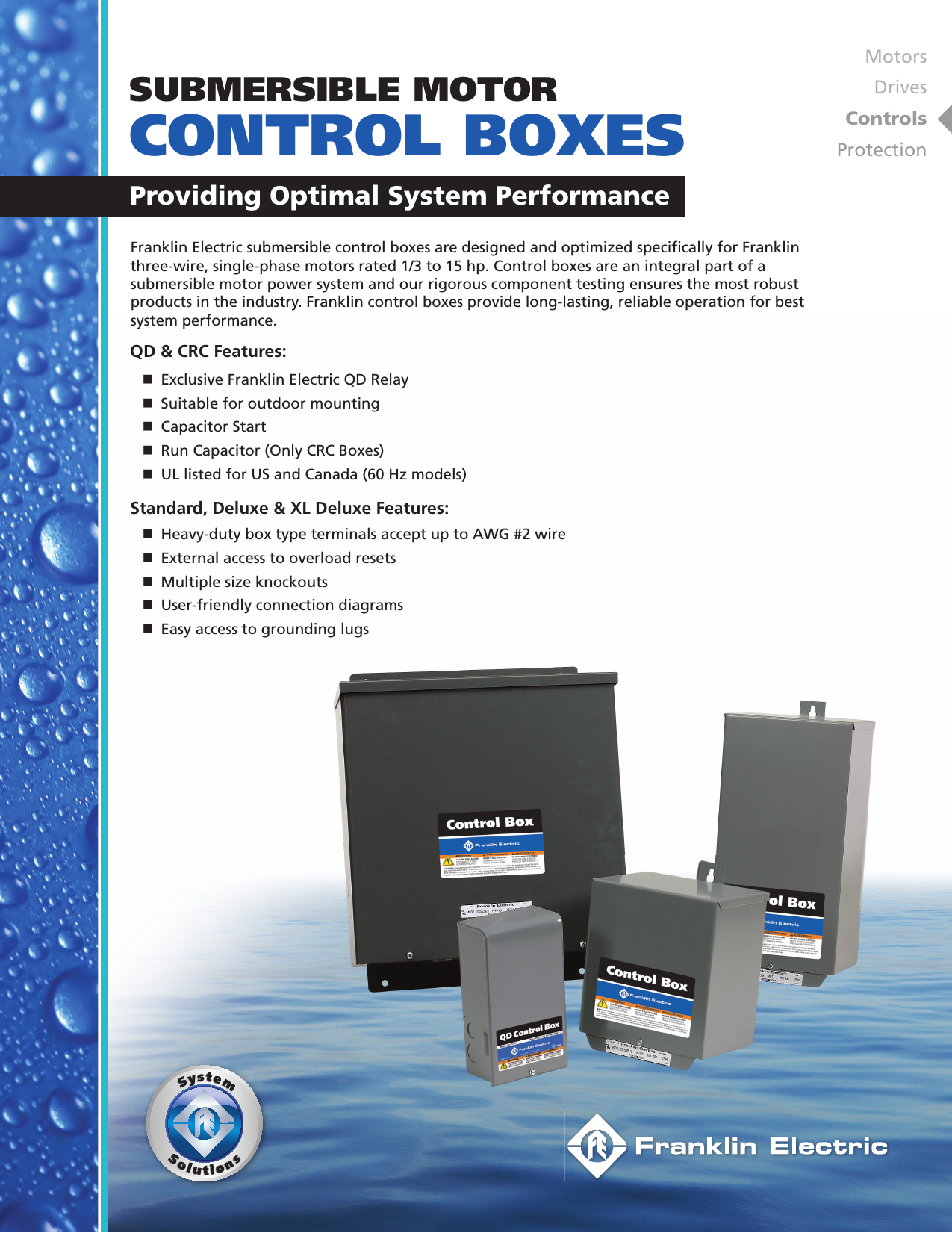 18131 1 Franklin Electric Control Box Brochure M1330 Boxes 03 09 Qd Wiring User Manual