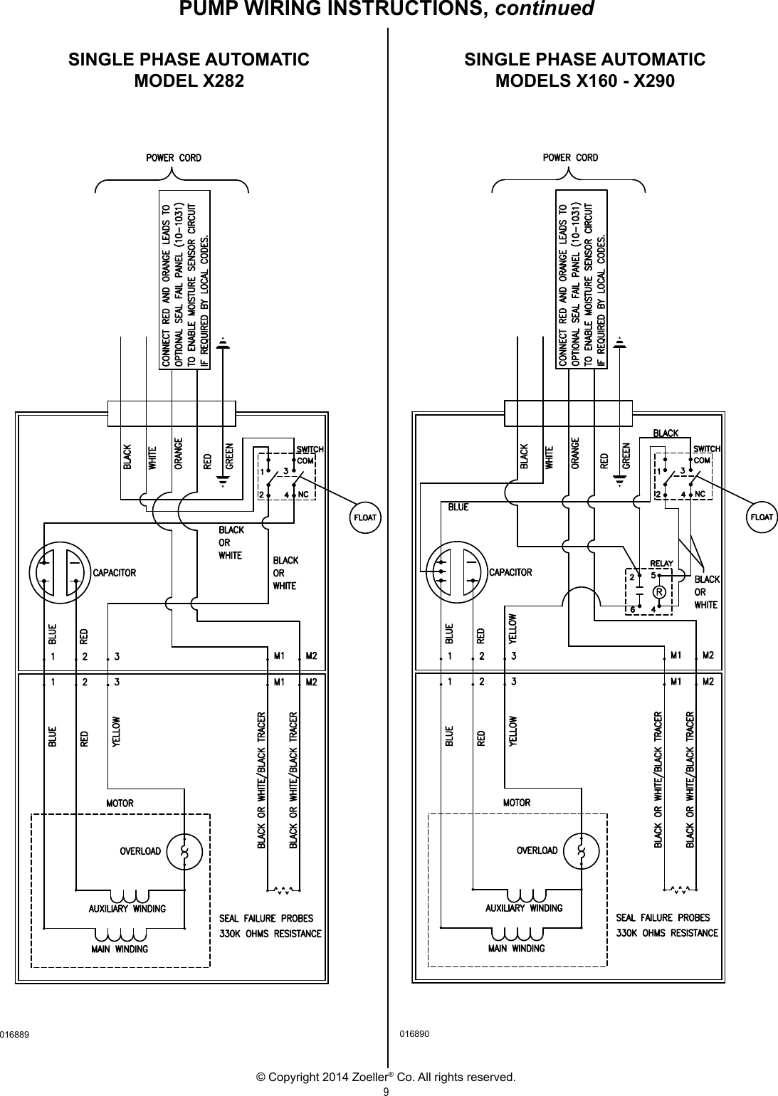 3282 1 Zoeller 160 Series Explosion Proof Pumps Owners Manual User Submersible Pump Wiring Diagram Page 9 Of 12