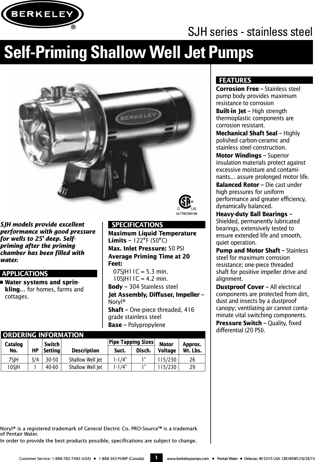 49015 1 Berkeley 10sjh11c Brochure User Manual How Do You Adjust The Pressure Switch On A Well Pump Page Of 2