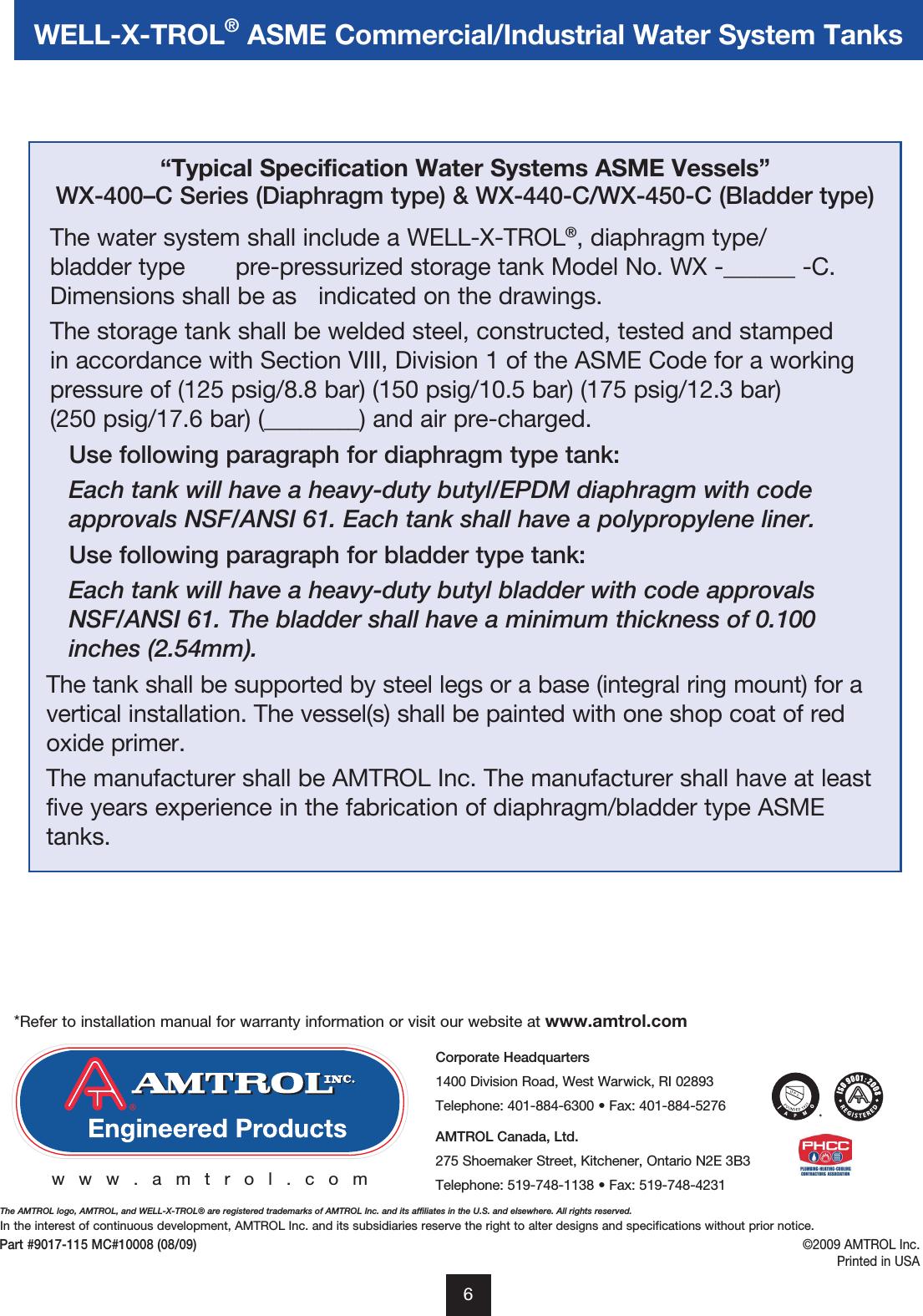 Amtrol Warranty