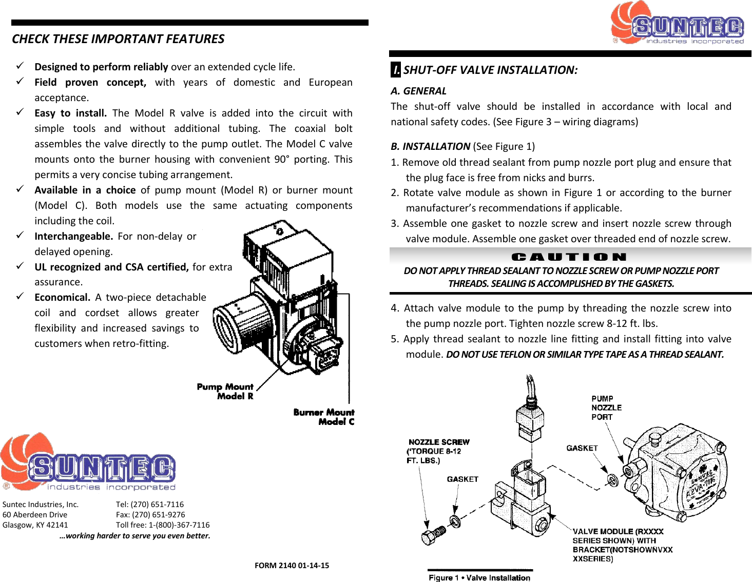 536596 2 Suntec R C Valves Installation Instructions User Manual Torque 8 Wire Diagram Page 1 Of