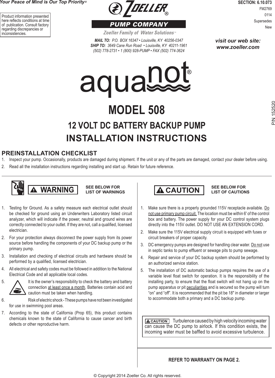 536908 2 Zoeller Aquanot 508 Installation Manual User Submersible Pump Wiring Diagram