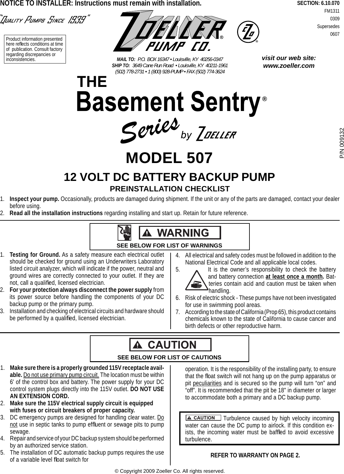 537026 1 Zoeller 507 Basement Sentry System Installation Manual Submersible Pump Wiring Diagram Page Of 8 Fm1311
