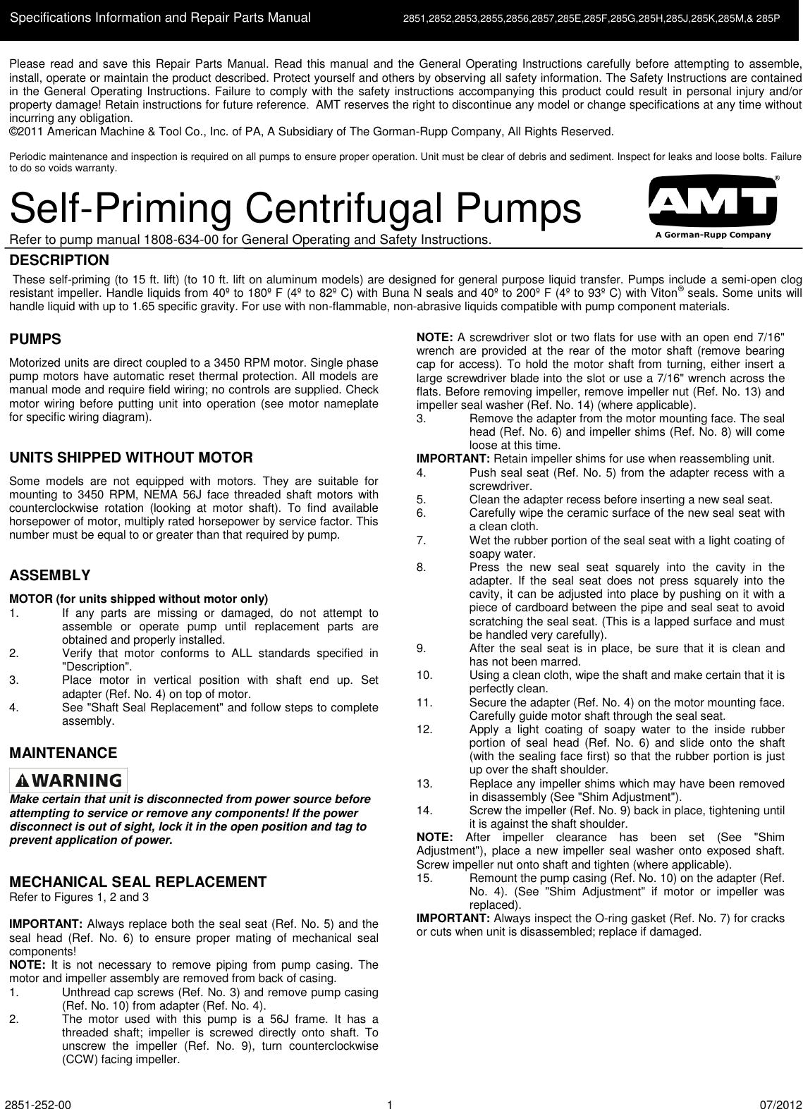 537184 3 Amt Cast Iron Centrifugal Pump Repair Parts User Manual Thermal Protector Wiring Diagram