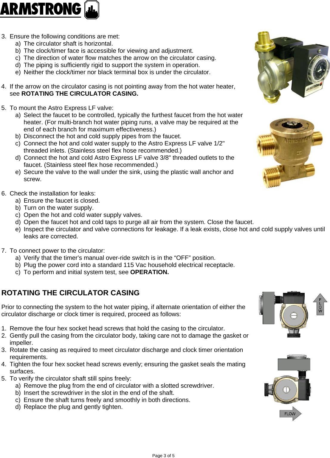 Page 3 of 5 - 537607 2 Armstrong Astro Express Recirculator System  Installation Manual AND OPERATING