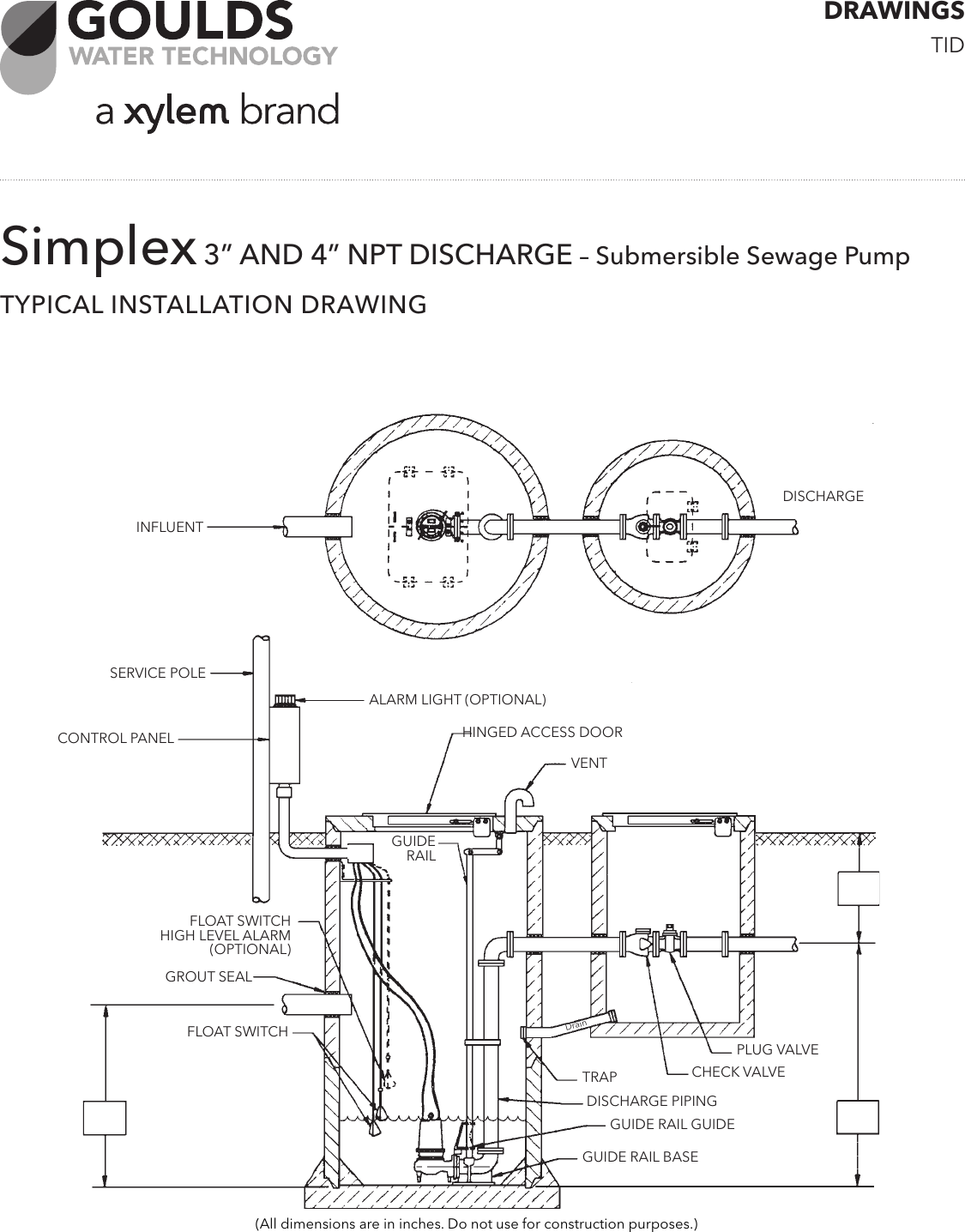 538615 5 Goulds 1GD Dual Seal Grinder Pump Installation Drawing