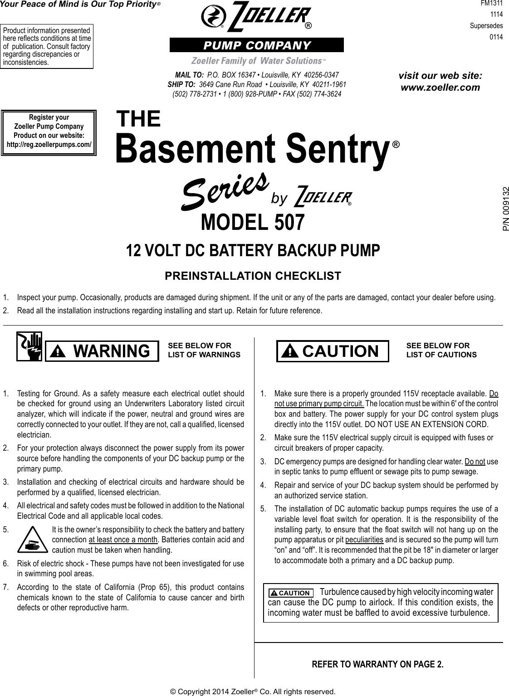 539123 1 Zoeller Basement Sentry Repair Parts