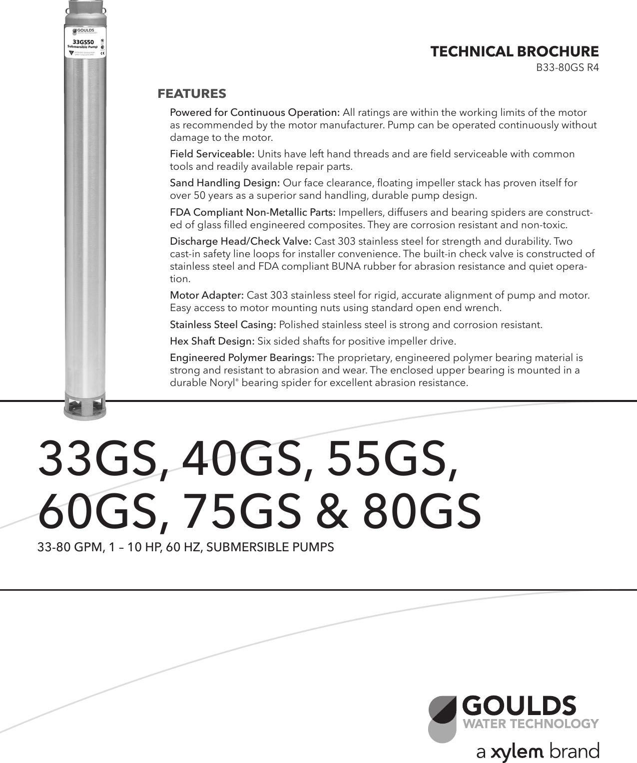 539444 1 Goulds GS Series (33 80 GPM) Submersible Pump Brochure