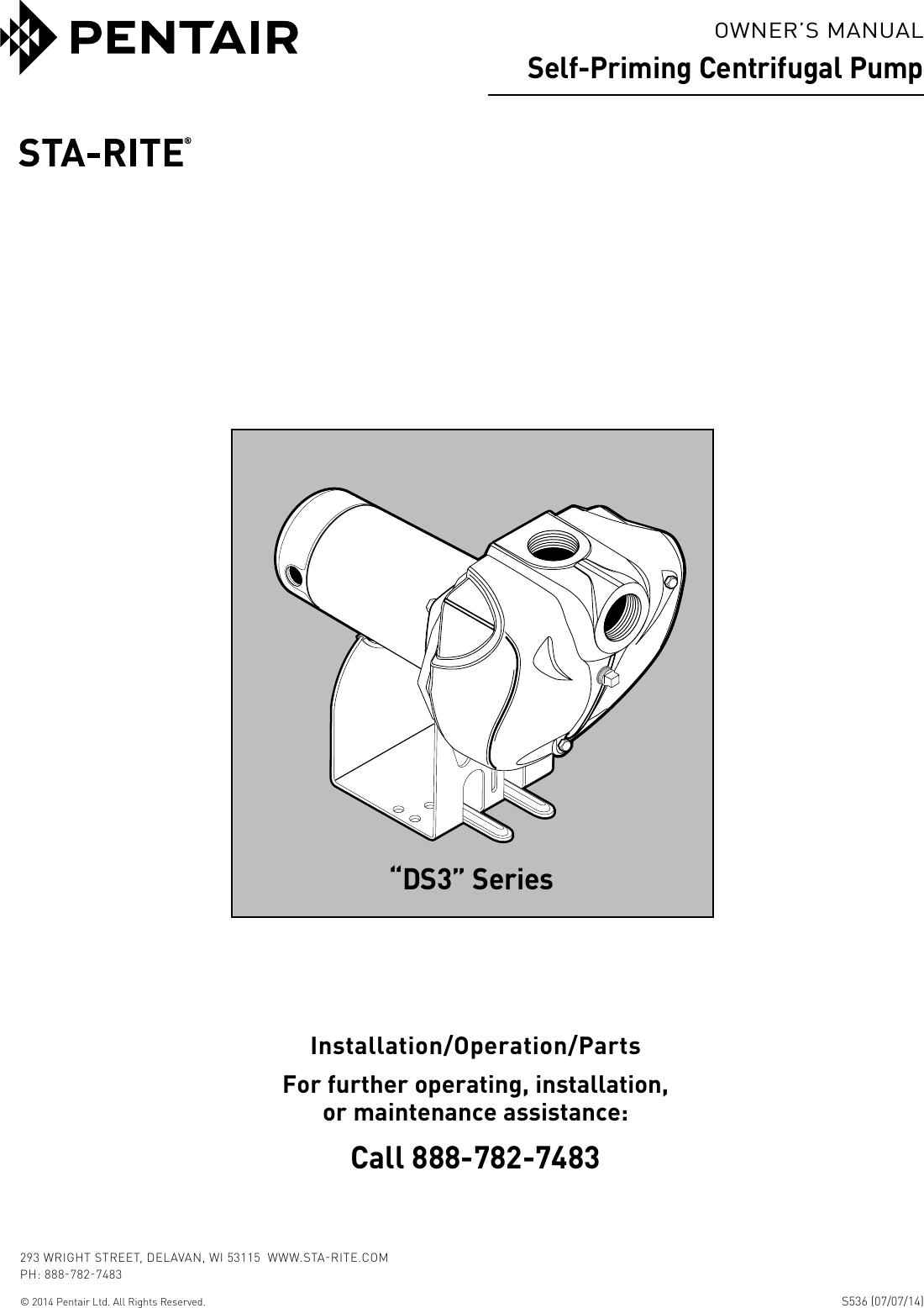 539612 2 Sta Rite Pro Storm Ds3 Series Centrifugal Pump Owners Manual Wiring Diagram Page 1 Of 12