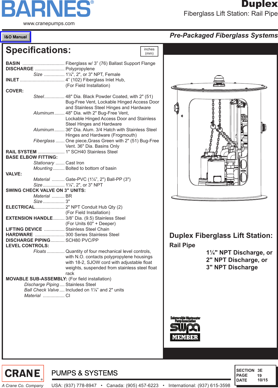 sec 3e rev 1 542505 2 barnes fiberglass duplex rail pipe lift rh usermanual wiki User Guide Instruction Manual Example