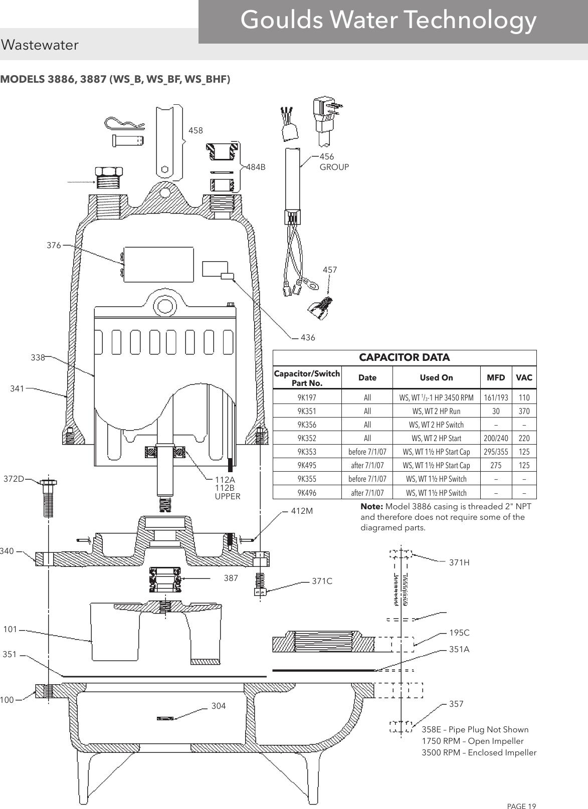 545905 4 Goulds 1GA 2GA Series Repair Parts on