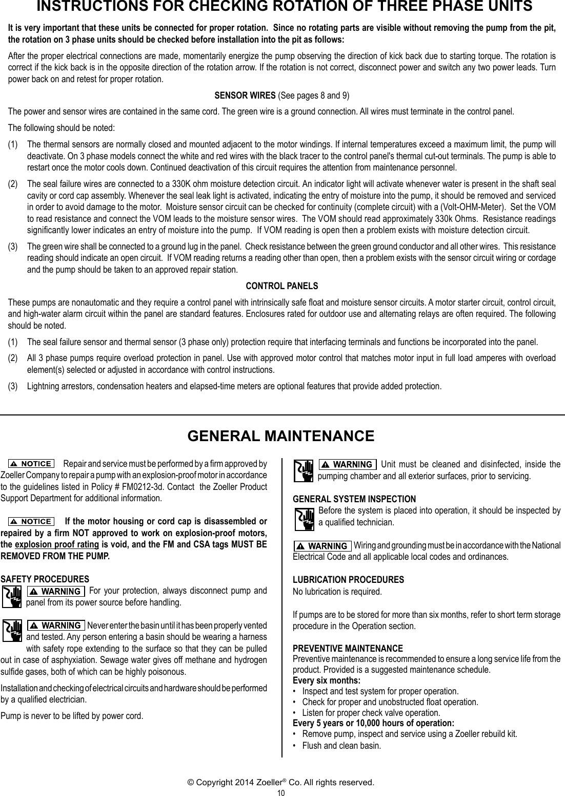548011 2 Zoeller X292 Owners Manual Pump Wiring Page 10 Of 12