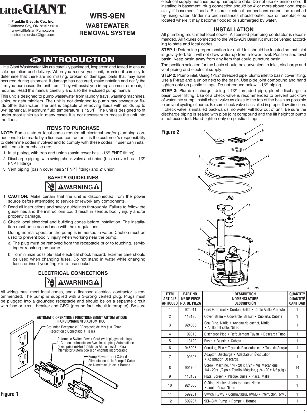 Little Giant Power Cord Wiring Diagram Trusted Diagrams Franklin Electric 548279 3 Wrs 9en Installation Manual Valentine One