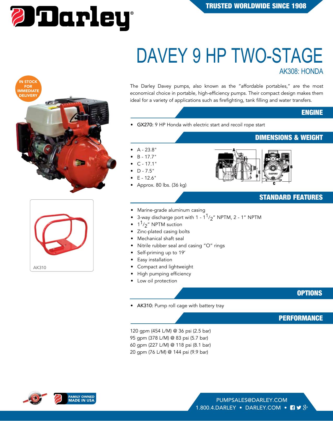550084 1 Davey 9 HP Portable Pump Honda GX270 Brochure