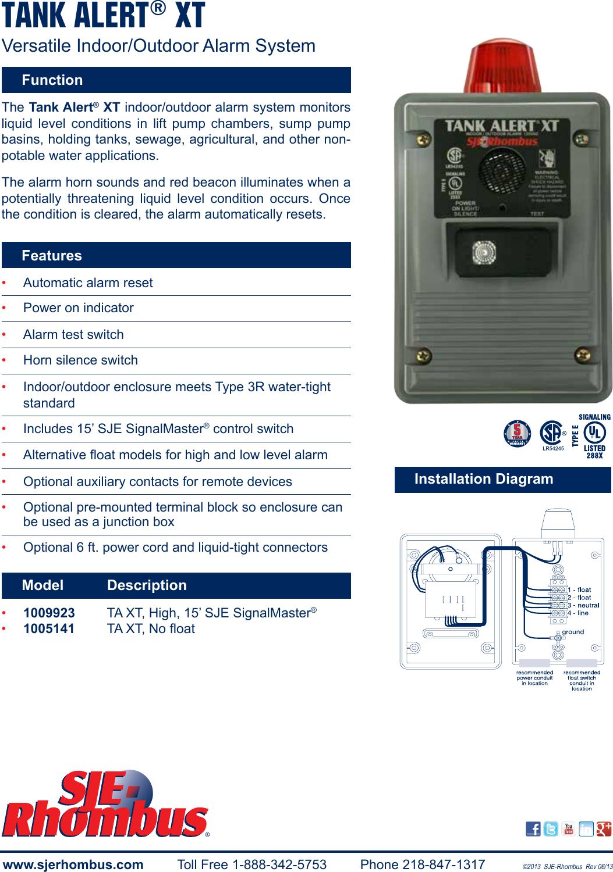 550339 1 SJE Rhombus Tank Alert XT BrochureUserManual.wiki