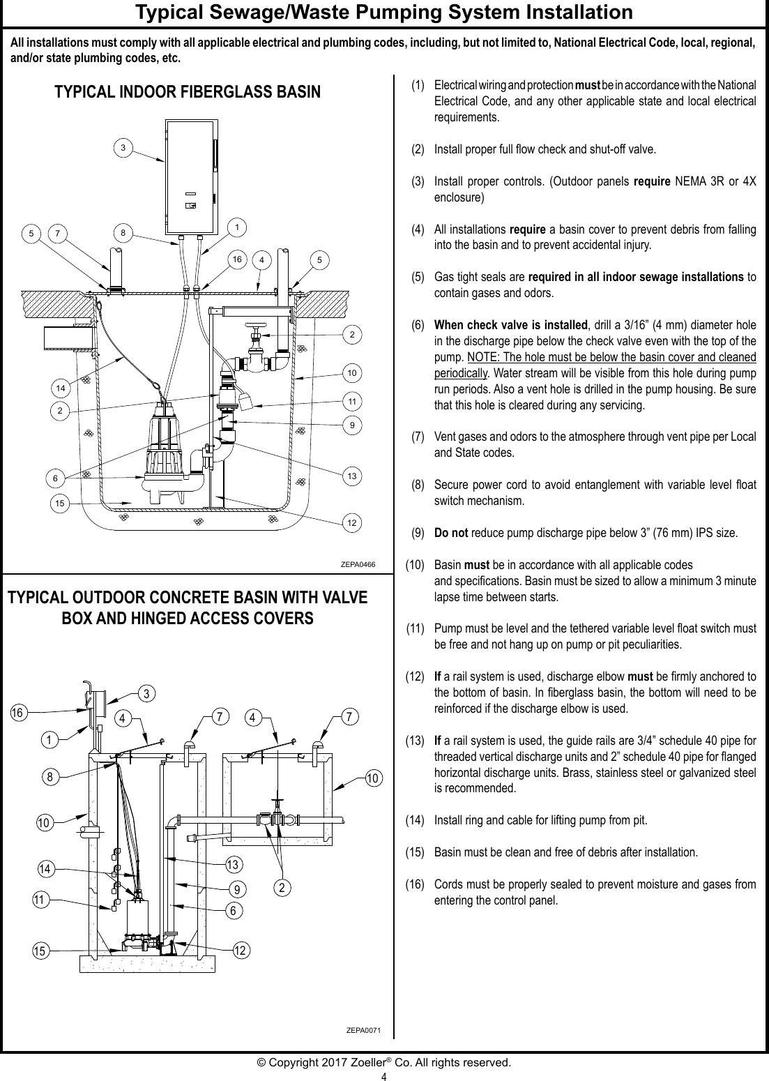 550528 2 Zoeller 600 Series Sewage Waste Pump Installation Instructions Septic Control Box Wiring Diagram Free Picture Page 4 Of 8