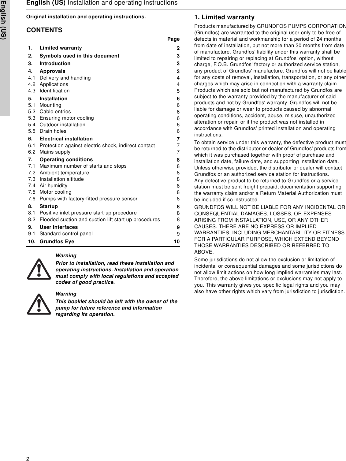 550877 2 Grundfos Cmbe Booster Pump Operating Instructions Wiring Page Of 12