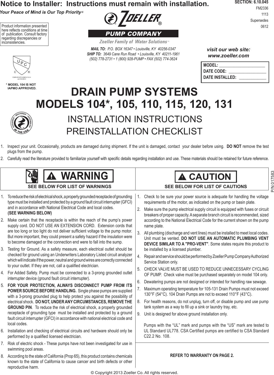 Zoeller Drain Pump 105 Manual Submersible Wiring Diagram 2740 2 Series Instructions User