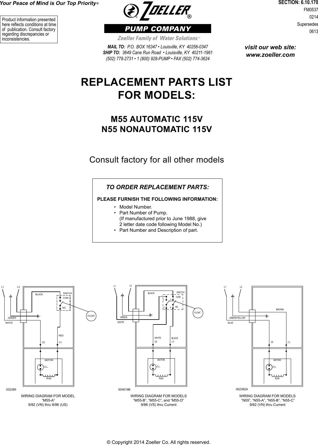 552387 4 zoeller 110 drain replacement pump m55 repair parts rh usermanual wiki