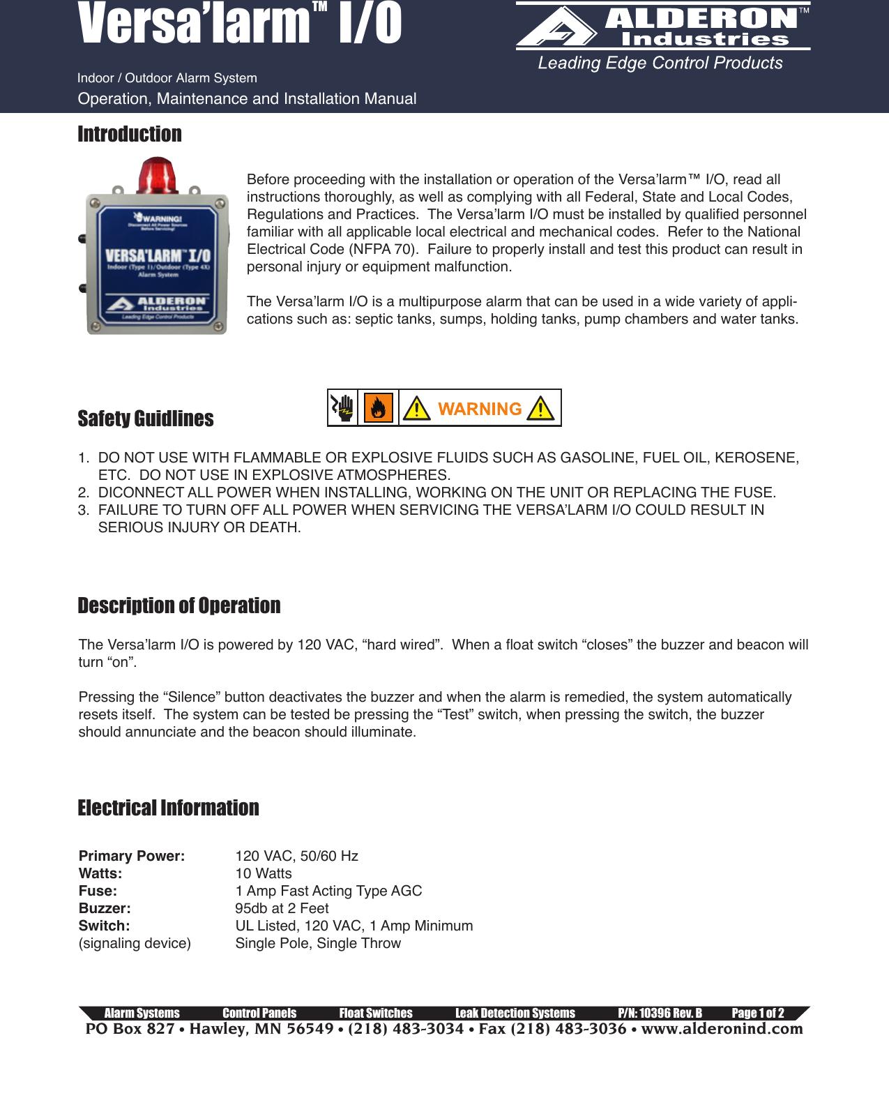10396 Alderon Vio Installation Instructions Revb Comp 552831 2 Replacing Single Pole Switch Versalarm Indoor Outdoor Alarm Manual
