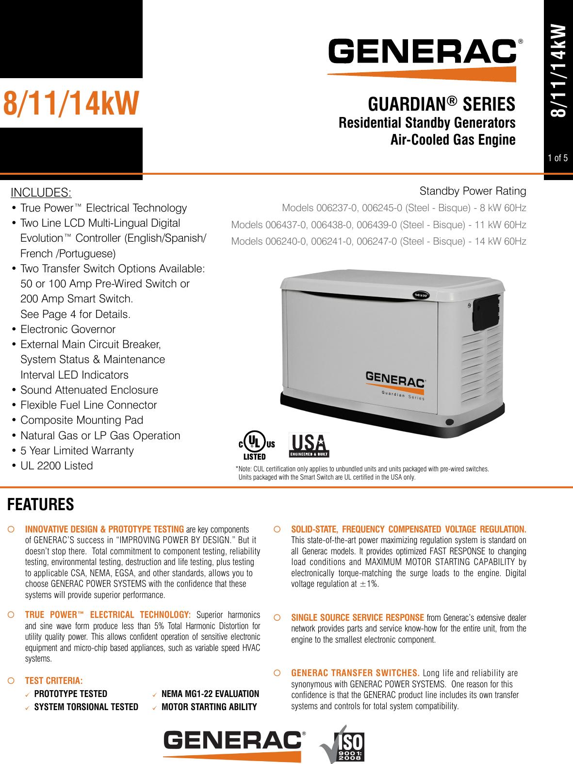 64376 3 Generac 6245 Product Specs