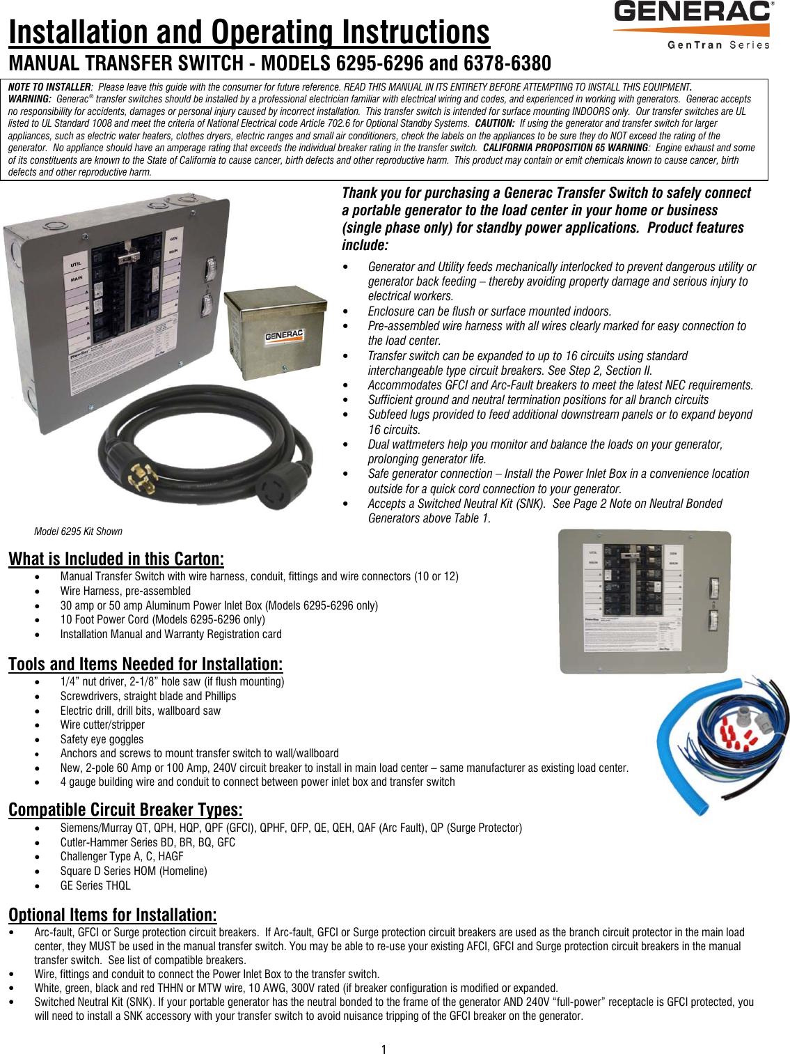 Generac6295 6296 6378 6380 Installmanualreva Eng 65807 2 Generac Murray 20amp 65 In Whole House Surge Protected Circuit Breaker 6379 Instructions