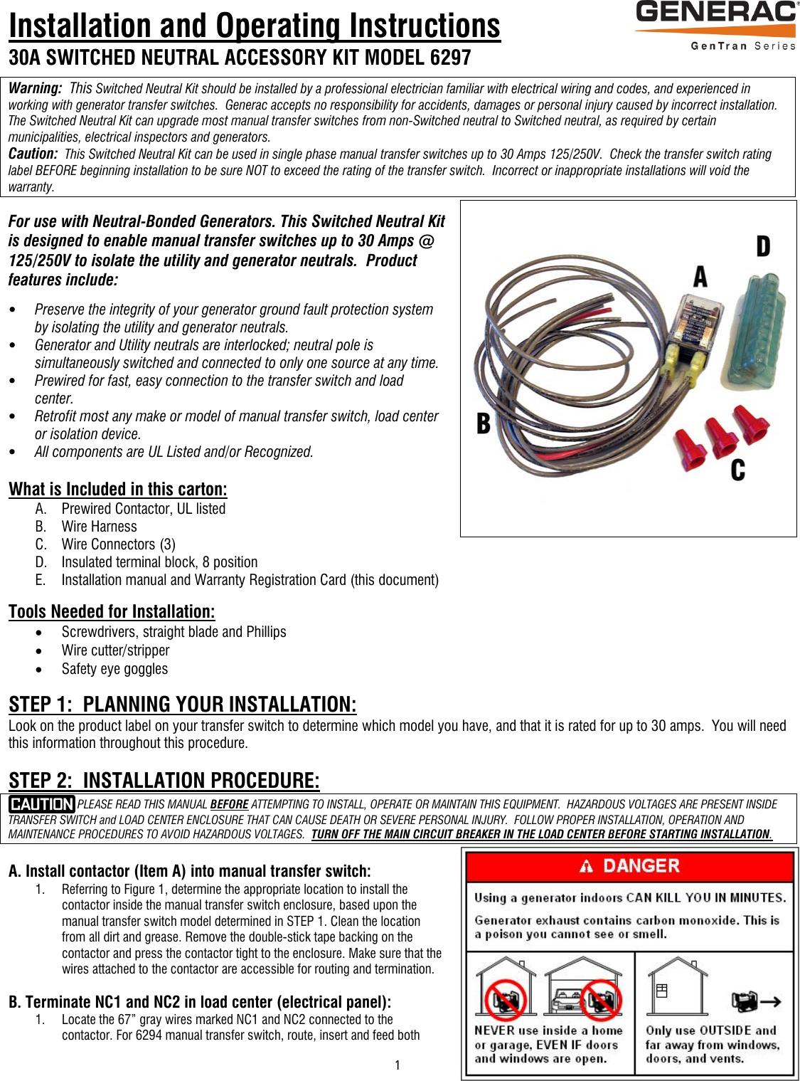 Snk 6297 Installrevb Eng 66316 2 Generac Install Manual Generator Transfer Switch Wiring