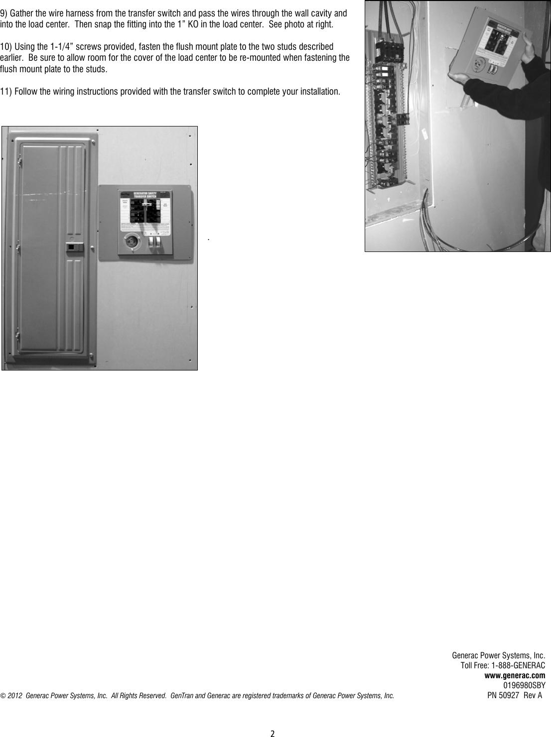 Generac6383 Installmanualreva Eng 66328 2 Generac 6383 Instructions Wiring Harness Page Of 6