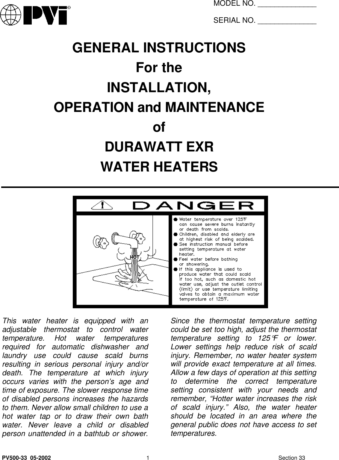 pvi industries water heater users manual pv500 33 0p3h rh usermanual wiki PVI Haddonfield NJ High School PVI Haddonfield NJ High School