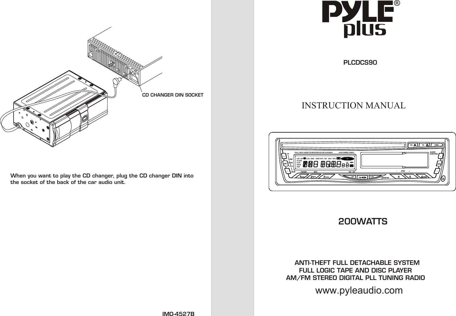 PYLE PLUS PLCDCS90M CD AND CASSETTE AUTO REVERSE PLAYER