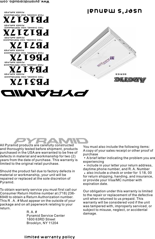 Pyramid Car Audio Amplifier Pb1217x Users Manual Pb Pb717x 1000watt 2channel Bridgeable Electronics