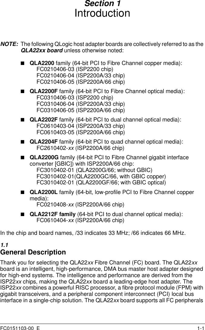 FC0310406-05 QLogic Fiber Channel TX PCI Host Adapter QLA2200F//66