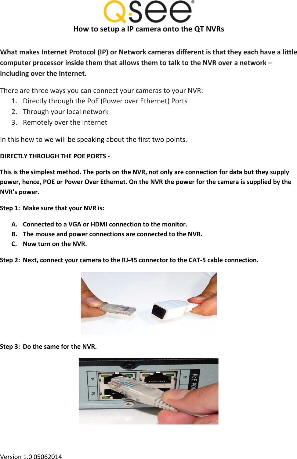 Q See Qt Nvr And Ip Connections Directly User Manual