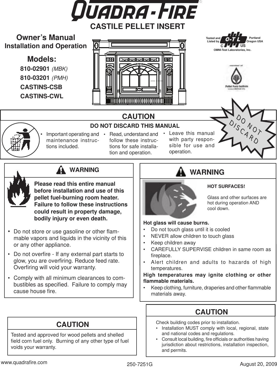 Quadra Fire 810 02901 Users Manual 250 7251G Castile Pellet ... on