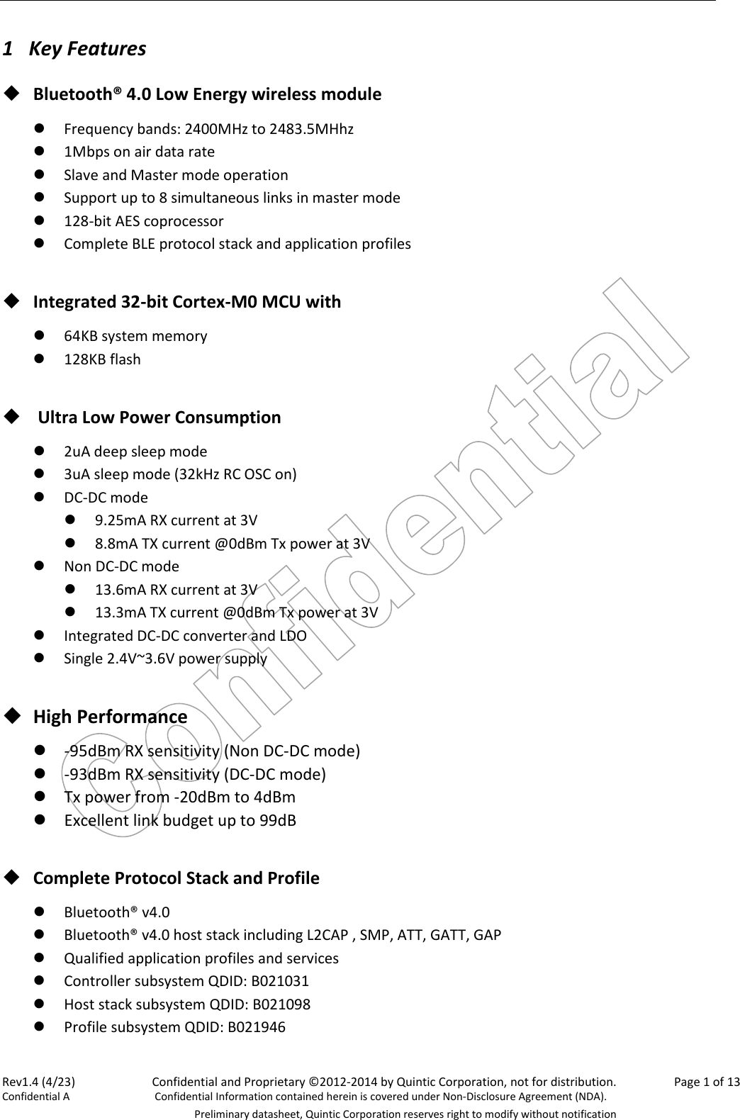 Quintic 9321 1 Bluetooth 40 Low Energy Module User Manual Format Of