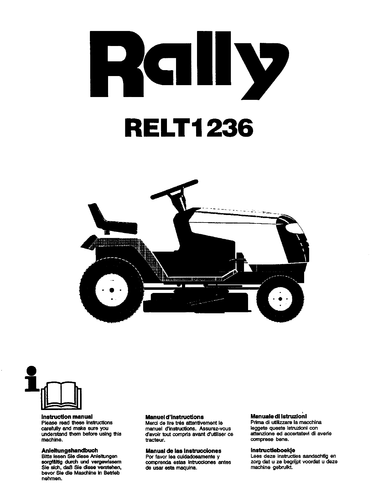 RALLY Lawn, Tractor Manual L0310206 on