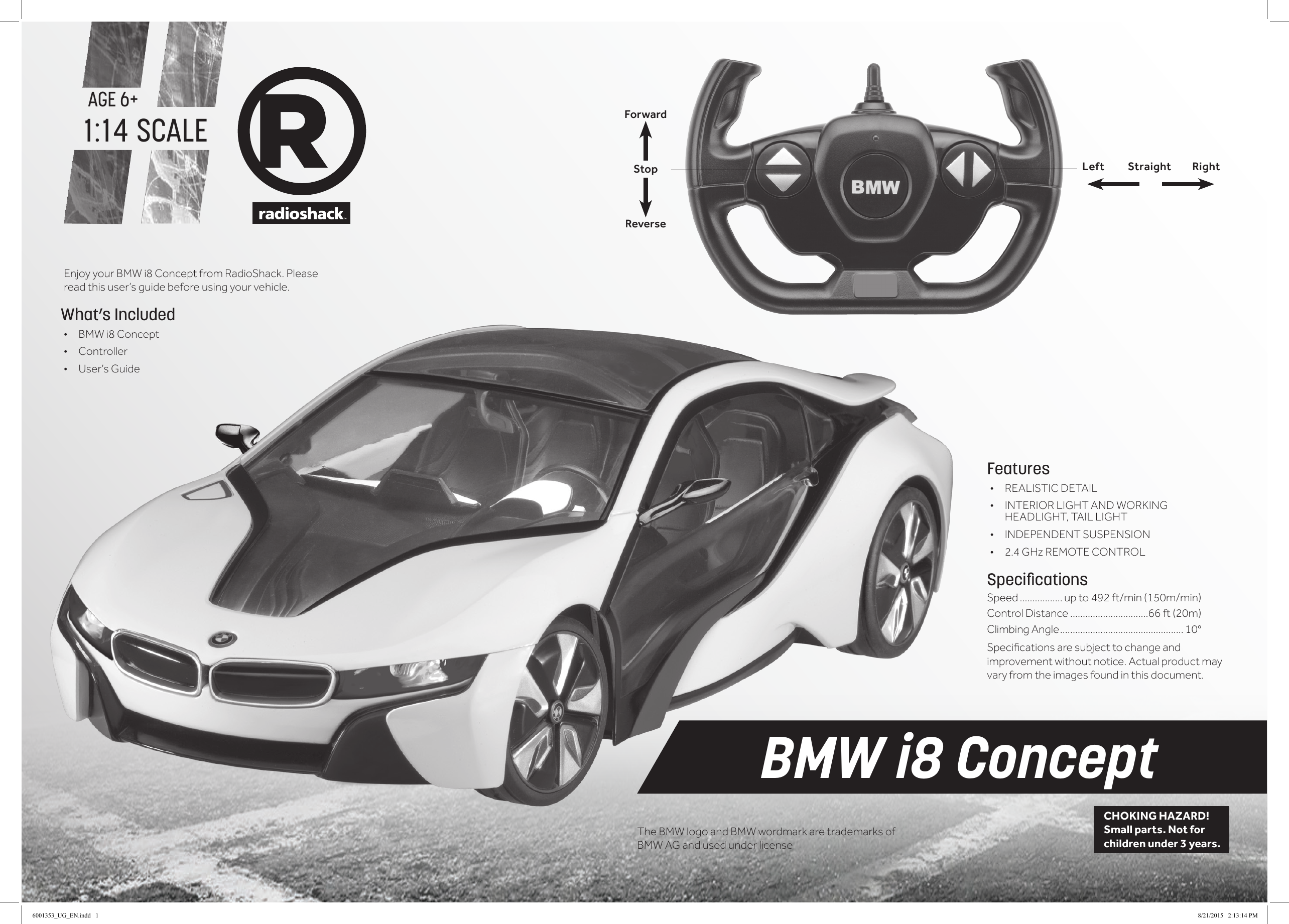 Rastar Group Xh150720tx 1 14 2 4ghz Bmw I8 Concept User Manual