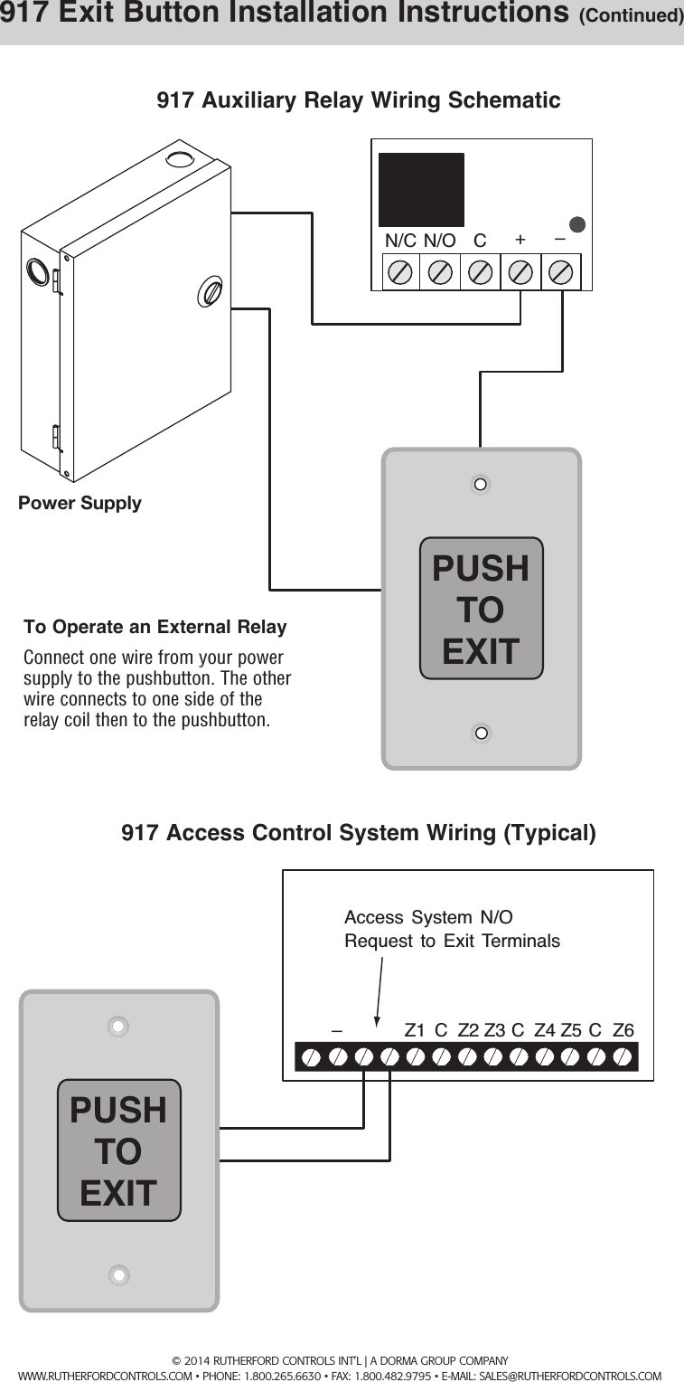 RCI 917 Easy Touch Exit Pushbutton Installation Instructions IS917 R0814UserManual.wiki