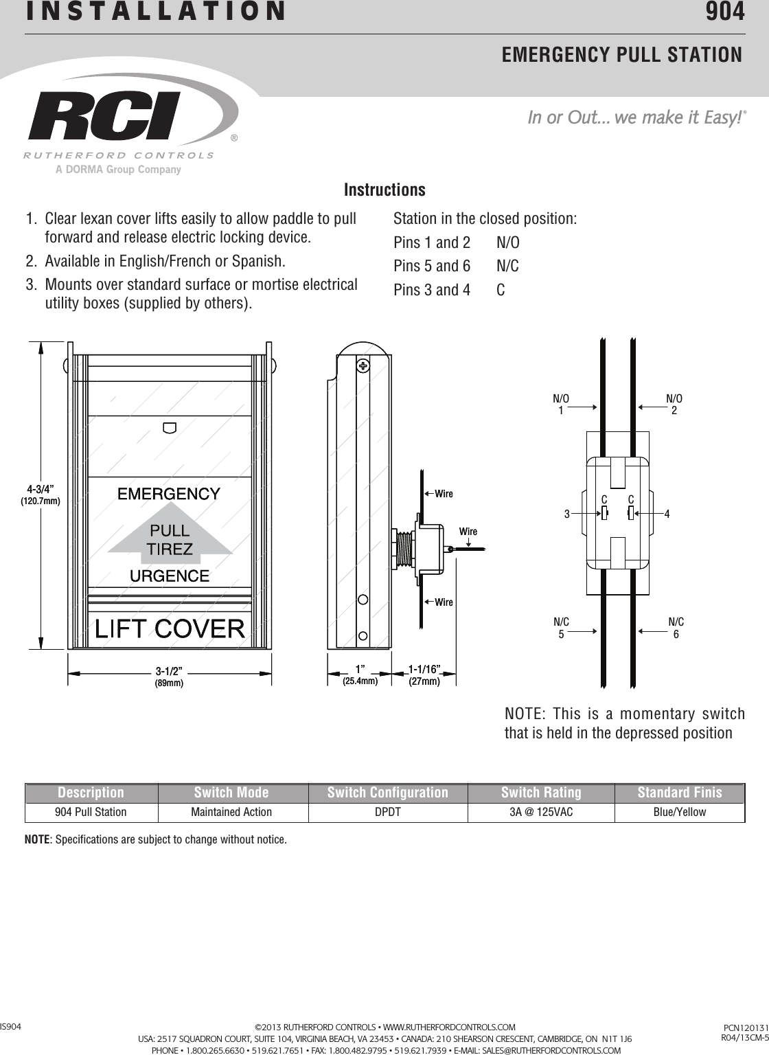 RCI 904 Emergency Pull Station Installation Instructions Is904 R0413 5
