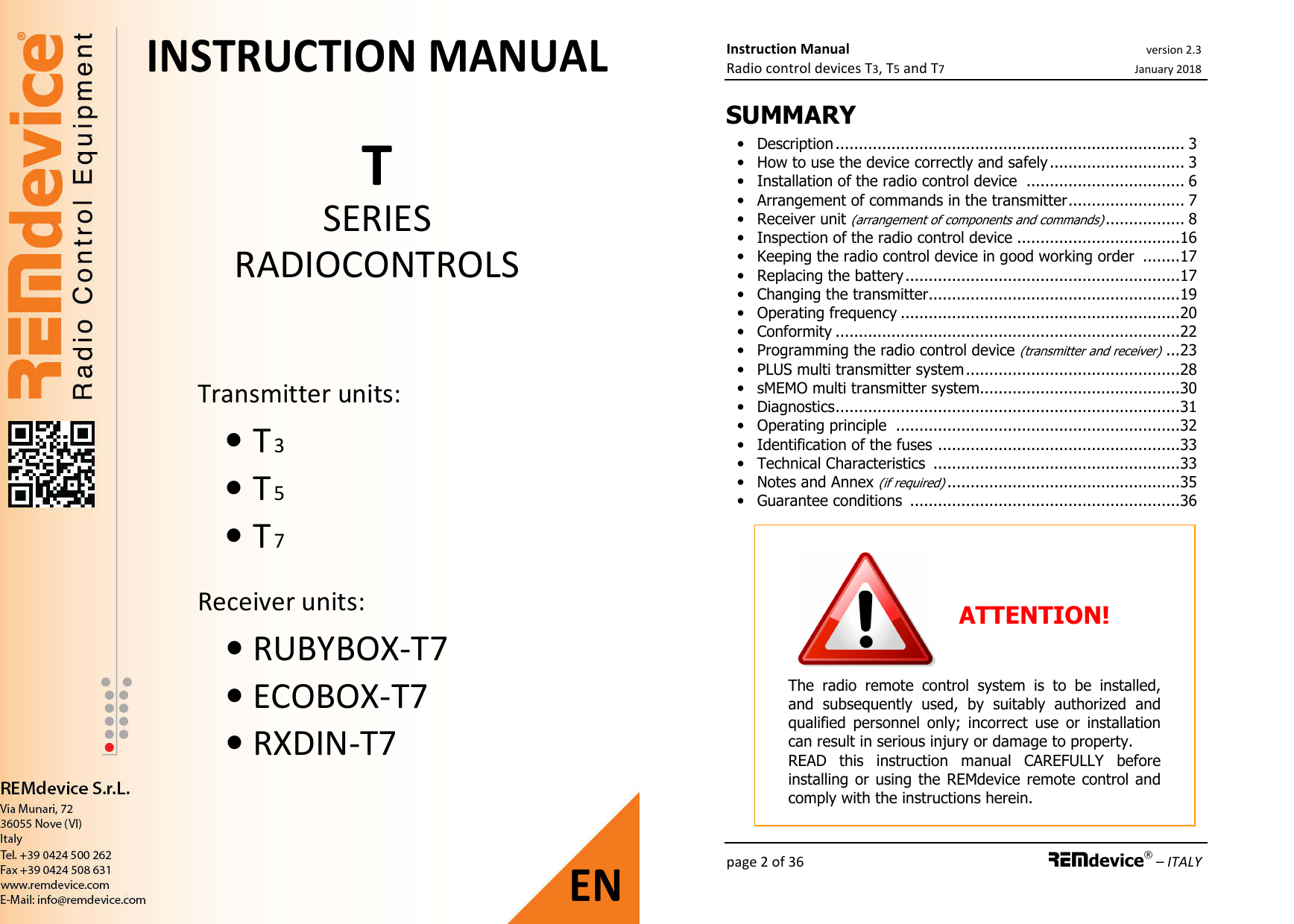 REMdevice s r l TTX8 Radio remote control transmitter User Manual