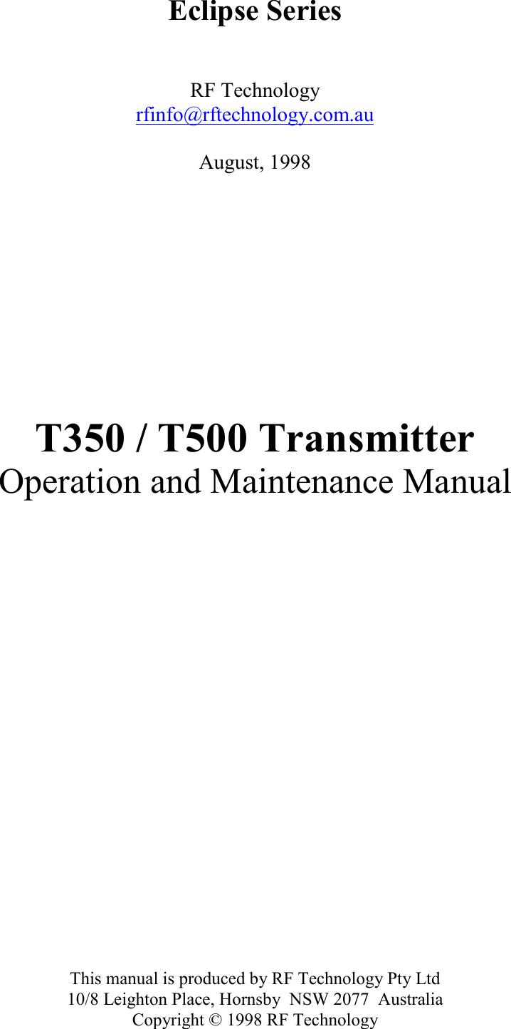 Rf Technology T500b Base Station Transmitter User Manual T500 Rftransmittercircuitpng
