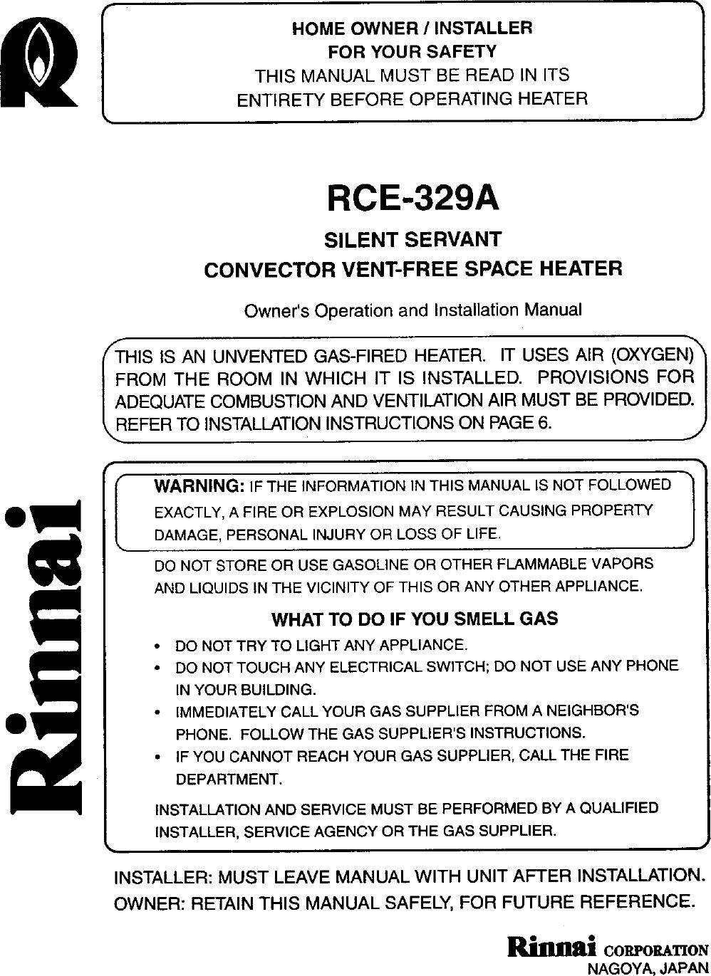 Rinnai America Space Heaters Wall Unit Manual L0408130 Natural Gas Furnace Schematics