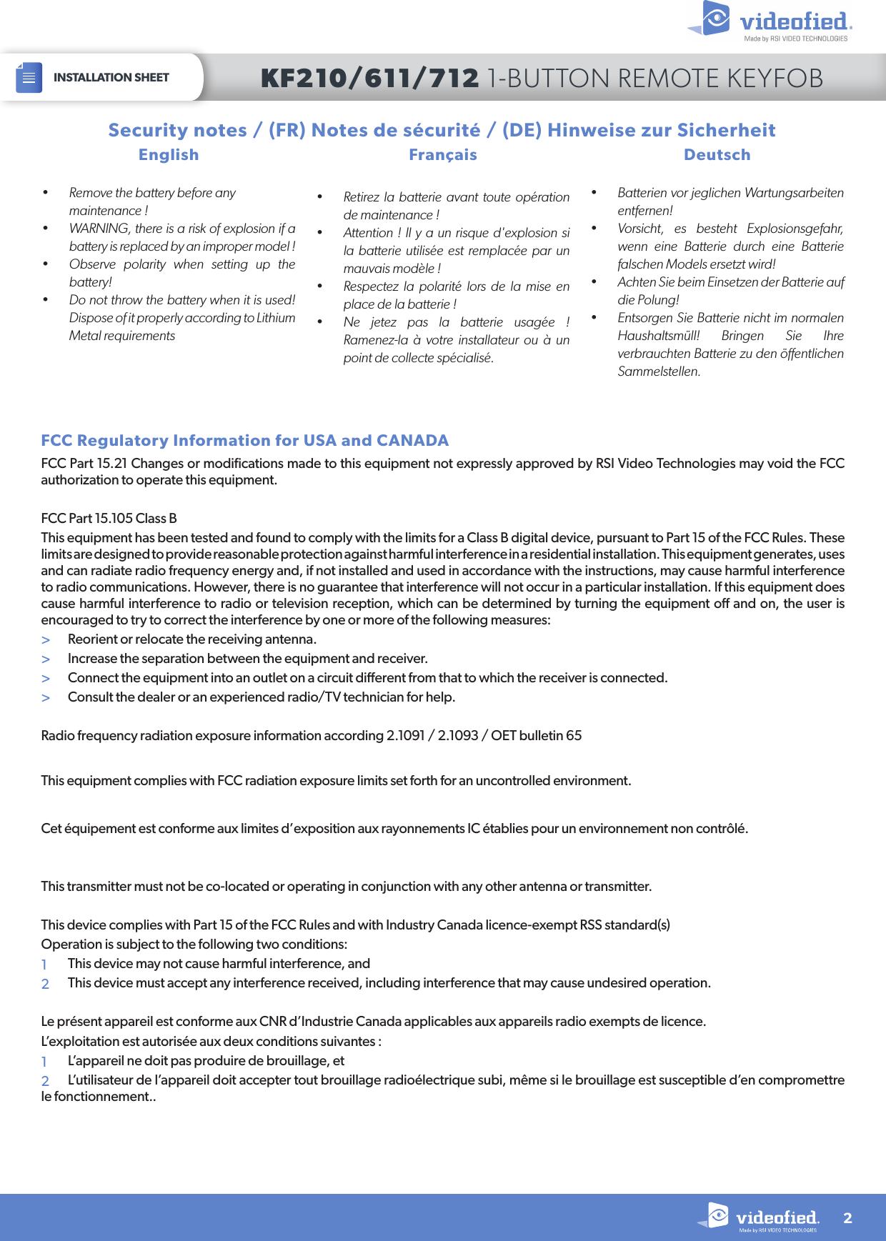 RSI VIDEOTECHNOLOGIES KF00 Keyfob User Manual Manual kf611