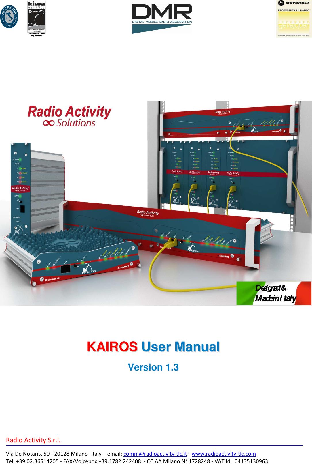 Radio Activity srl KA160 VHF BASE STATION User Manual ENB52 KAIROS 1v3