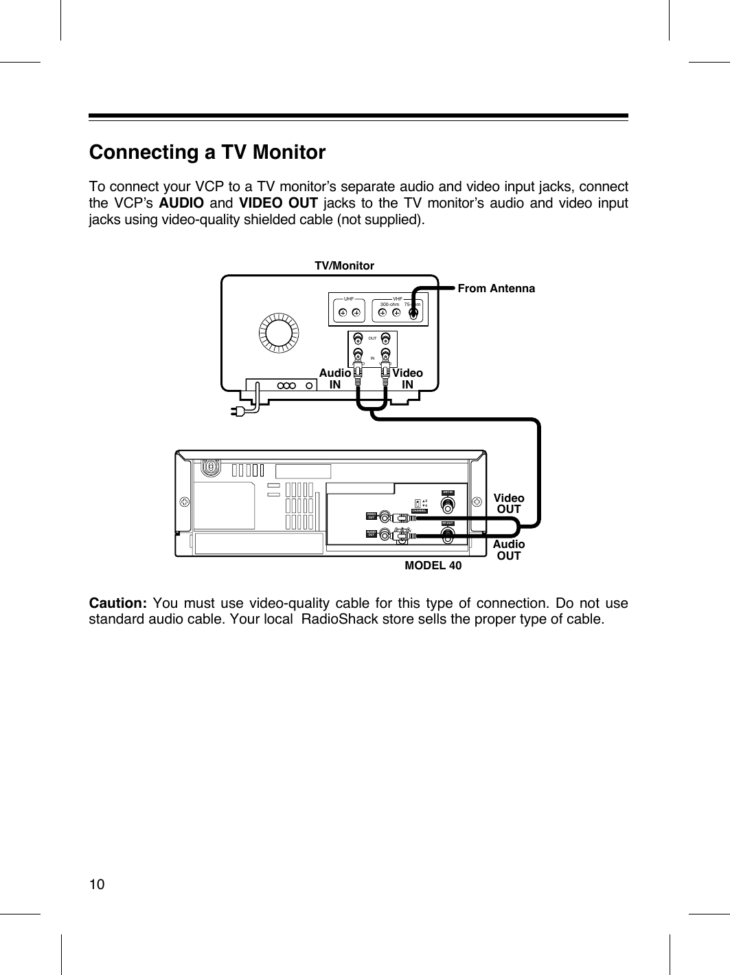 Radio Shack 1600430 Video Cassette Player User Manual Vcp354 Instruction Jack Wiring Diagram Connecting A Tv Monitorto Connect Your Vcp To Monitors Separate Audio And Input