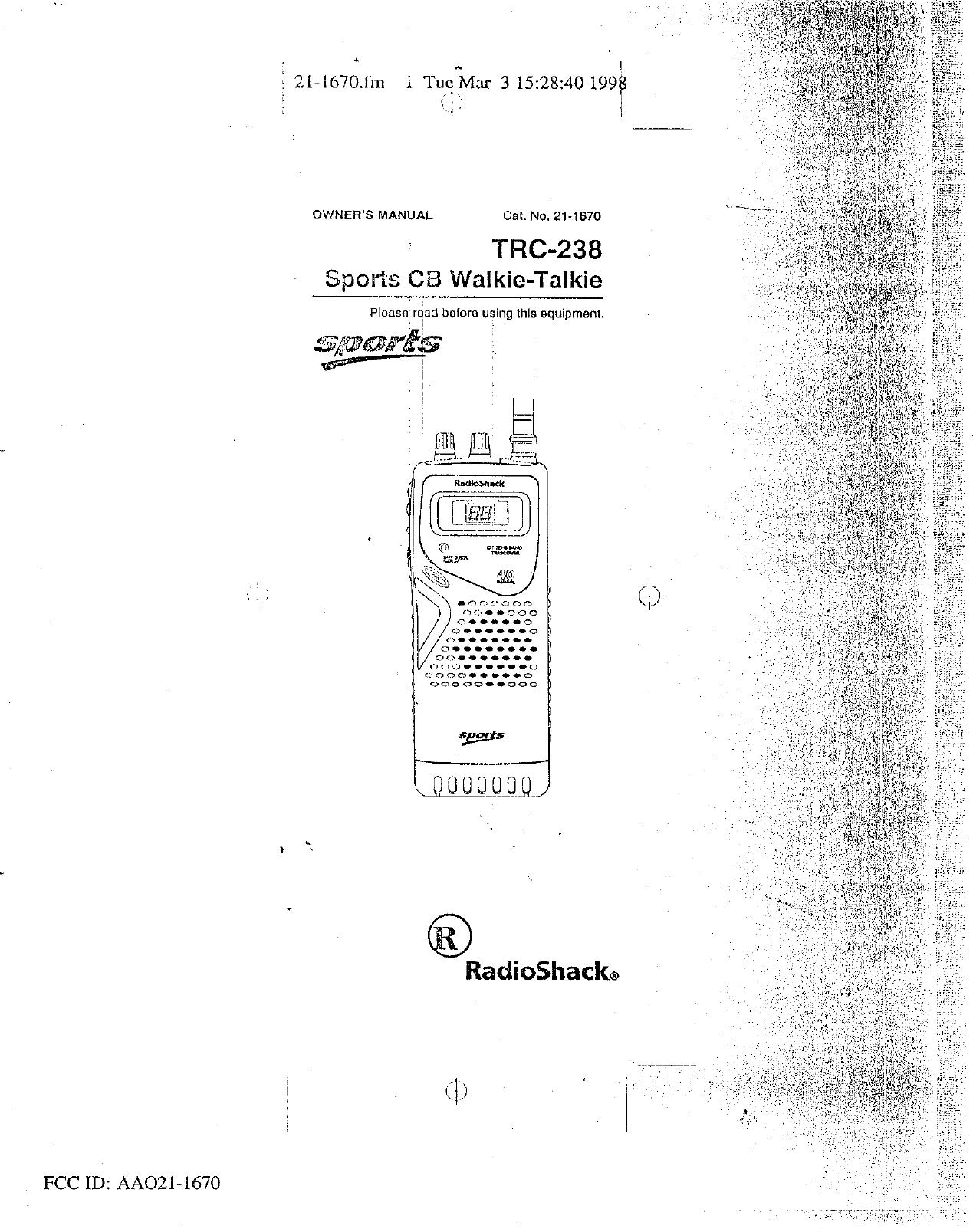 Radio Shack 21-1670 CB Transceiver User Manual