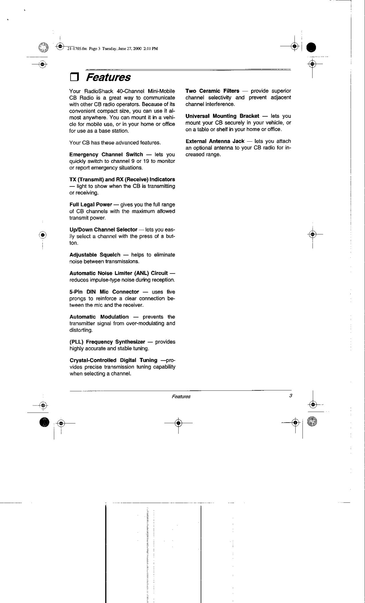 Radio Shack 2101705 Cb Station User Manual Crystalcontrolledfm